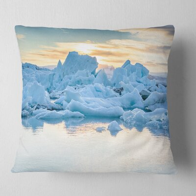 Icebergs in Glacier Lagoon Seascape Pillow Size: 16 x 16, Product Type: Throw Pillow