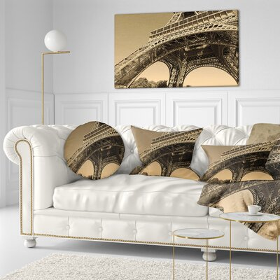 Iconic Paris Paris Eiffel TowerSide View from Ground Cityscape Throw Pillow Size: 16