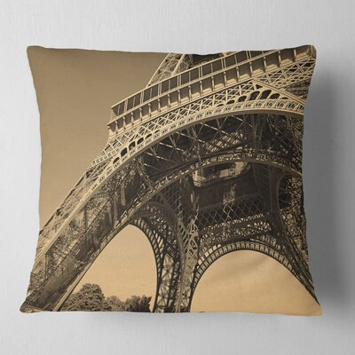 Iconic Paris Eiffel Tower Side View from Ground Cityscape Pillow Size: 26