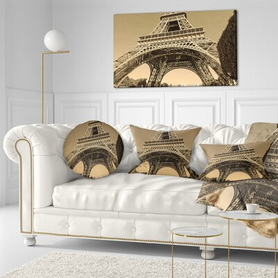 Iconic Paris Paris Eiffel TowerView from Ground Cityscape Throw Pillow Size: 16 x 16