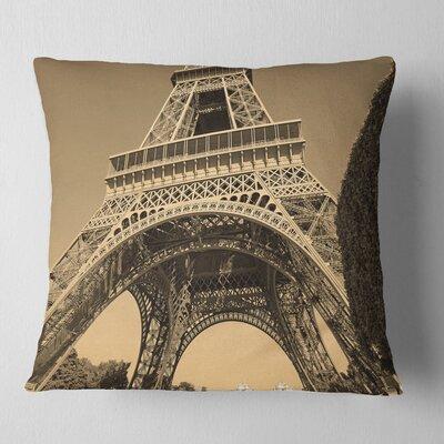 Iconic Paris Eiffel Tower View from Ground Cityscape Pillow Size: 18