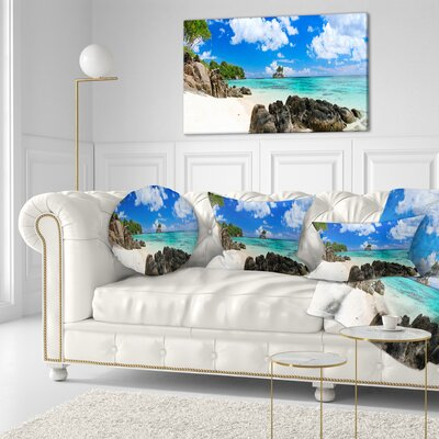 Ideal Beach in Seychelles Seascape Photography Throw Pillow Size: 16 x 16