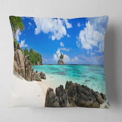 Ideal Beach in Seychelles Seascape Photography Pillow Size: 16 x 16, Product Type: Throw Pillow