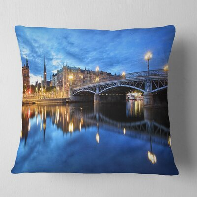 Illuminated Stockholm Cityscape Pillow Size: 18 x 18, Product Type: Throw Pillow