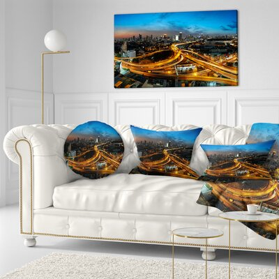 Illuminated Highway in Bangkok Cityscape Throw Pillow Size: 16 x 16
