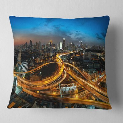 Illuminated Highway in Bangkok Cityscape Pillow Size: 16 x 16, Product Type: Throw Pillow