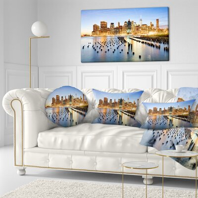 Illuminated New York Skyscrapers Cityscape Throw Pillow Size: 16 x 16
