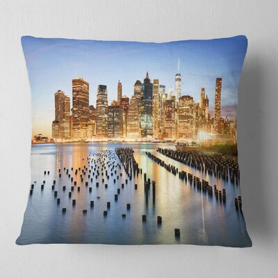 Illuminated New York Skyscrapers Cityscape Pillow Size: 18 x 18, Product Type: Throw Pillow