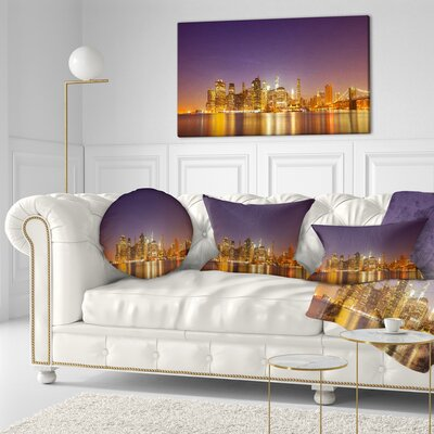 Illuminated NYC Downtown Buildings Cityscape Throw Pillow Size: 20 x 20