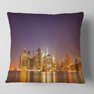 Illuminated NYC Downtown Buildings Cityscape Pillow Size: 26 x 26, Product Type: Euro Pillow