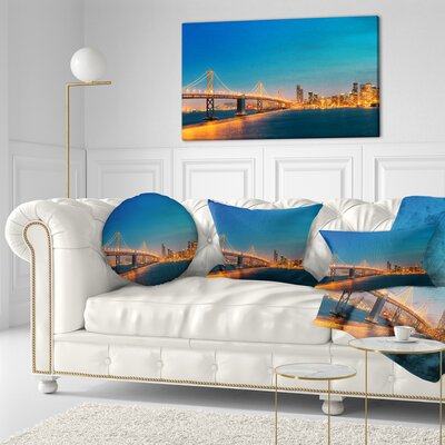 Illuminated San Francisco Skyline Cityscape Throw Pillow Size: 16 x 16
