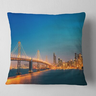 Illuminated San Francisco Skyline Cityscape Pillow Size: 18 x 18, Product Type: Throw Pillow