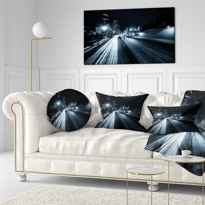 Illuminated Traffic Trail in Downtown Seattle Cityscape Throw Pillow Size: 20 x 20