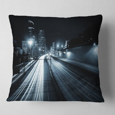 Illuminated Traffic Trail in Downtown Seattle Cityscape Pillow Size: 18 x 18, Product Type: Throw Pillow