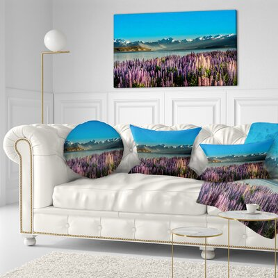 Incredible Mountains Waters and Flowers Landscape Printed Throw Pillow Size: 16 x 16