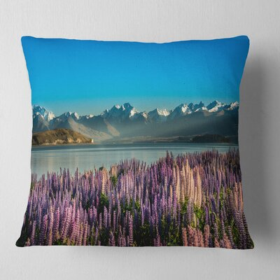 Incredible Mountains Waters and Flowers Landscape Printed Pillow Size: 26 x 26, Product Type: Euro Pillow