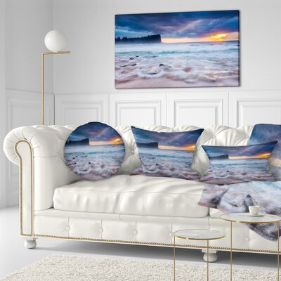Incredible Sunset with Waves Seashore Throw Pillow Size: 16 x 16