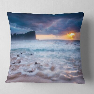 Incredible Sunset with Waves Seashore Pillow Size: 16 x 16, Product Type: Throw Pillow
