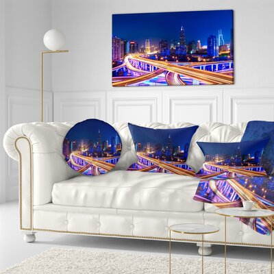 Interchange overpass at Night Skyline Cityscape Throw Pillow Size: 20 x 20