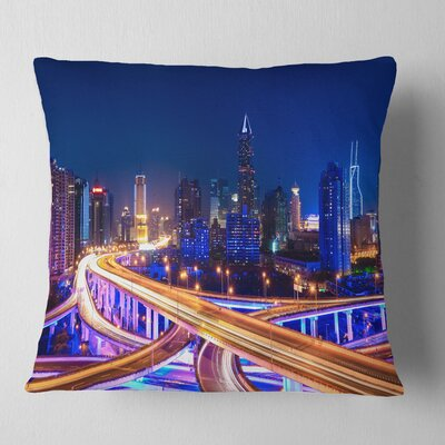 Interchange overpass at Night Skyline Cityscape Pillow Size: 16 x 16, Product Type: Throw Pillow