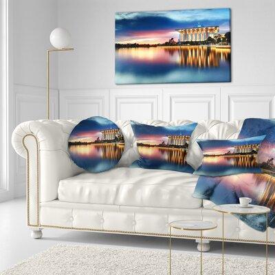 Iron Mosque Malaysia Panorama Seashore Photo Throw Pillow Size: 16 x 16