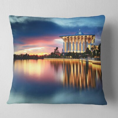 Iron Mosque Malaysia Panorama Seashore Photo Pillow Size: 18 x 18, Product Type: Throw Pillow