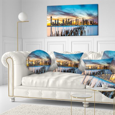 Jersey City Panorama at Sunset Cityscape Throw Pillow Size: 16 x 16