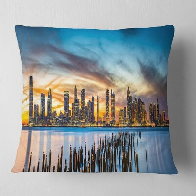 Jersey City Panorama at Sunset Cityscape Pillow Size: 18 x 18, Product Type: Throw Pillow