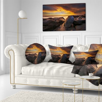 La Perhouse Beach Sydney Seascape Throw Pillow Size: 16 x 16