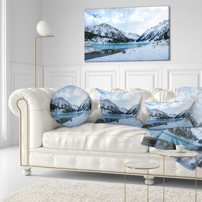 Lake Between Foggy Mountains Landscape Photography Throw Pillow Size: 16 x 16