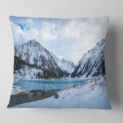 Lake Between Foggy Mountains Landscape Photography Pillow Size: 26 x 26, Product Type: Euro Pillow