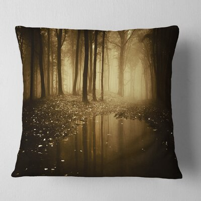 Lake in Forest with Fall Fog Landscape Photo Pillow Size: 16 x 16, Product Type: Throw Pillow