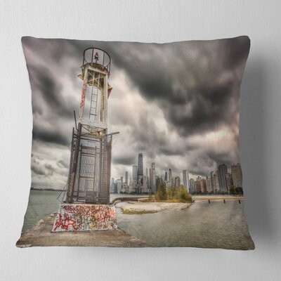 Lake Michigan Navigation Light Cityscape Pillow Size: 16 x 16, Product Type: Throw Pillow