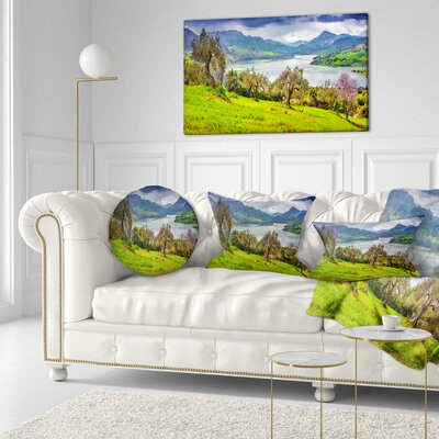 Lake Rosamarina Panorama Landscape Photo Throw Pillow Size: 20 x 20