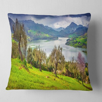 Lake Rosamarina Panorama Landscape Photo Pillow Size: 16 x 16, Product Type: Throw Pillow