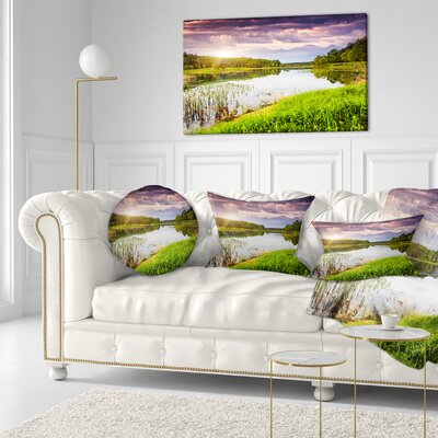Lake Under overcast Sky Landscape Photography Throw Pillow Size: 16 x 16