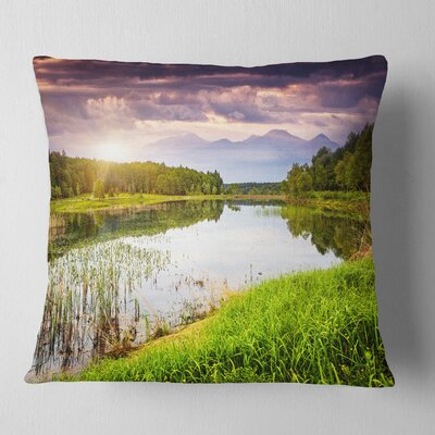 Lake Under overcast Sky Landscape Photography Pillow Size: 18 x 18, Product Type: Throw Pillow