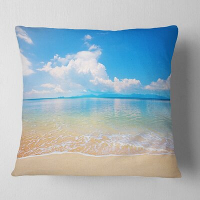 Large Clouds over Calm Beach Seashore Photo Pillow Size: 16 x 16, Product Type: Throw Pillow