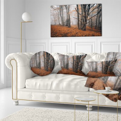 Large Fall Trees with Fallen Leaves Landscape Photography Throw Pillow Size: 20 x 20