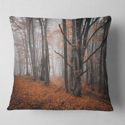 Large Fall Trees with Fallen Leaves Landscape Photography Pillow Size: 18 x 18, Product Type: Throw Pillow