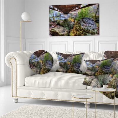 Large Rocks Under Bridge in Creek Landscape Photography Throw Pillow Size: 16 x 16