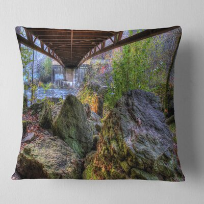Large Rocks Under Bridge in Creek Landscape Photography Pillow Size: 18 x 18, Product Type: Throw Pillow