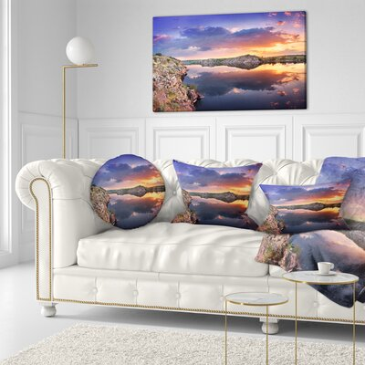 Large Summer Clouds Reflection Landscape Photography Throw Pillow Size: 20 x 20