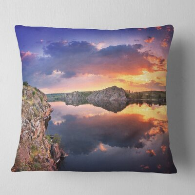 Large Summer Clouds Reflection Landscape Photography Pillow Size: 16 x 16, Product Type: Throw Pillow