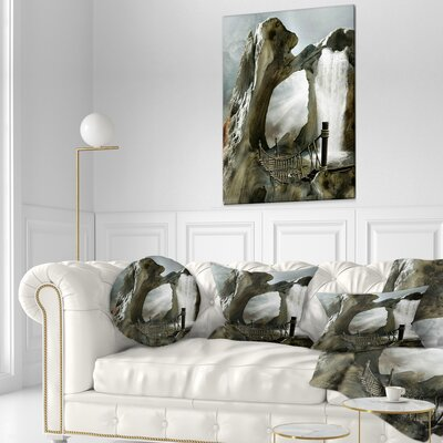 Large Trunk with Waterfall Landscape Printed Throw Pillow Size: 16 x 16