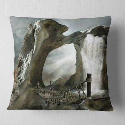 Large Trunk with Waterfall Landscape Printed Pillow Size: 16 x 16, Product Type: Throw Pillow