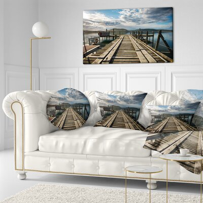Large Wooden Bridge in New Zealand Sea Bridge Throw Pillow Size: 20 x 20