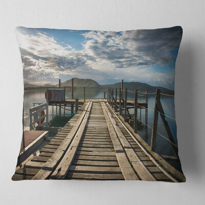 Large Wooden Bridge in New Zealand Sea Bridge Pillow Size: 16 x 16, Product Type: Throw Pillow