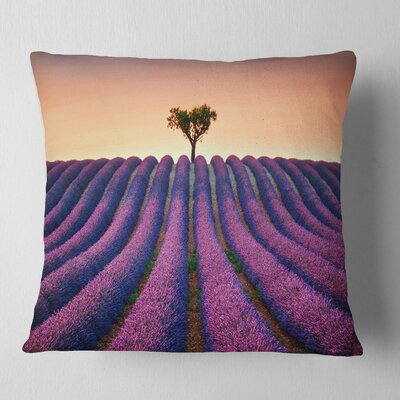 Lavender and Lonely Tree Uphill Landscape Photography Pillow Size: 18 x 18, Product Type: Throw Pillow