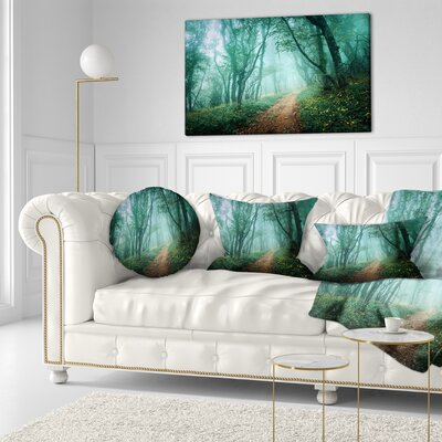 Light Green Mystical Fall Forest Landscape Photography Throw Pillow Size: 16 x 16